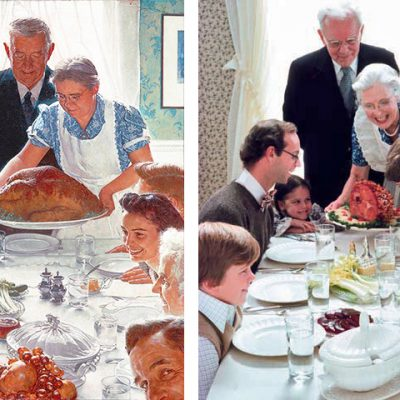 Left: Norman Rockwell Painting; Right: